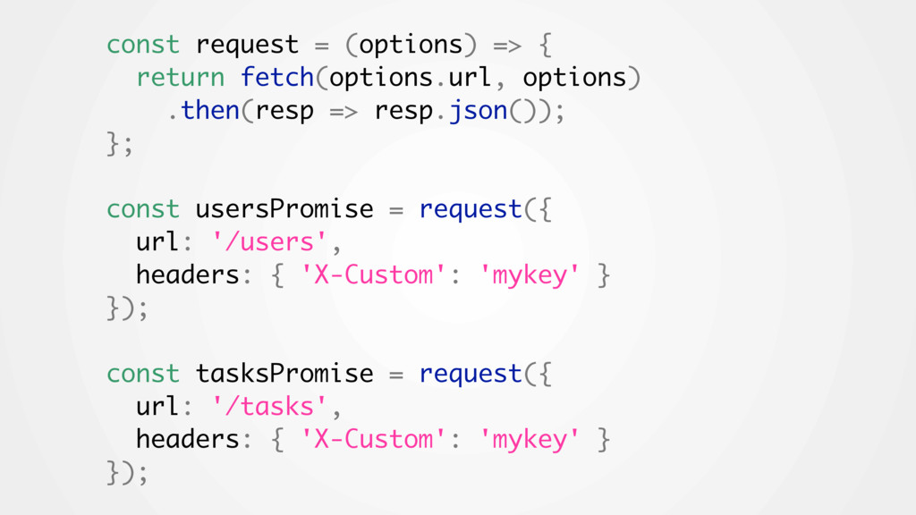 const request = (options) => { return fetch(opt...