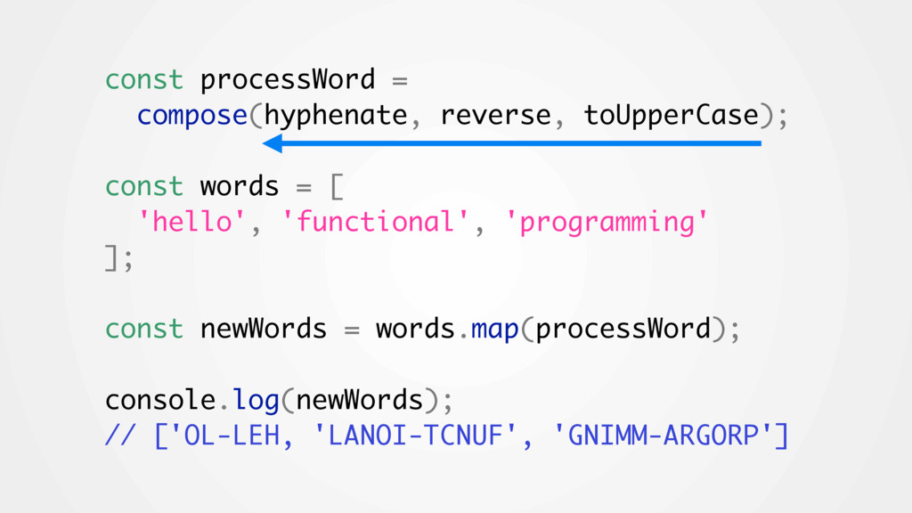 const processWord = compose(hyphenate, reverse,...