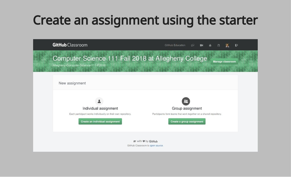Create an assignment using the starter