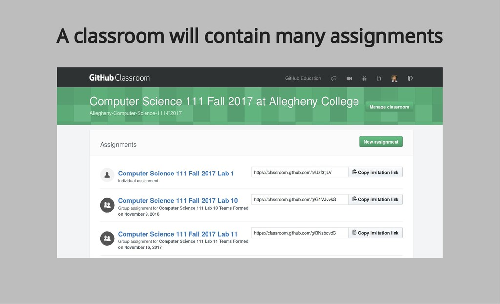 A classroom will contain many assignments