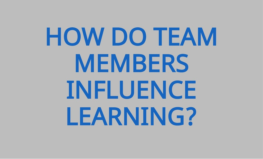 HOW DO TEAM MEMBERS INFLUENCE LEARNING?