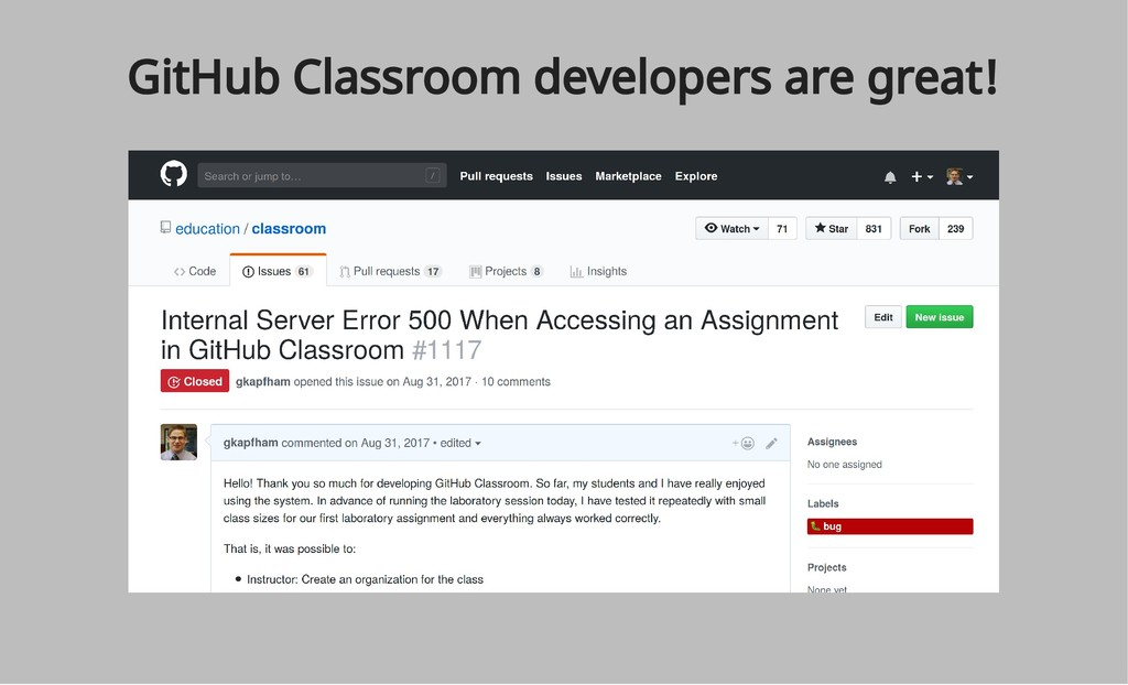 GitHub Classroom developers are great!