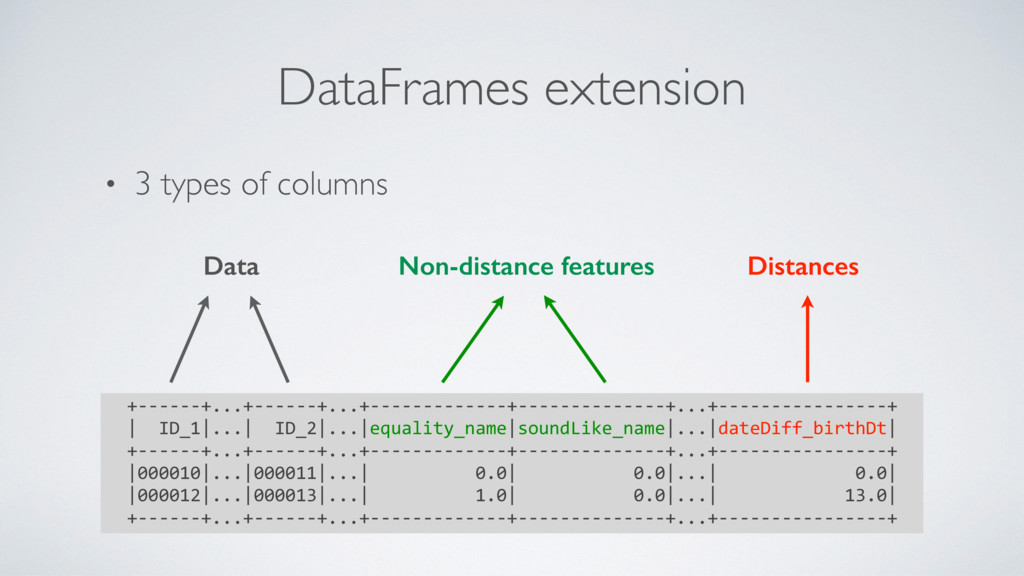 • 3 types of columns DataFrames extension +----...