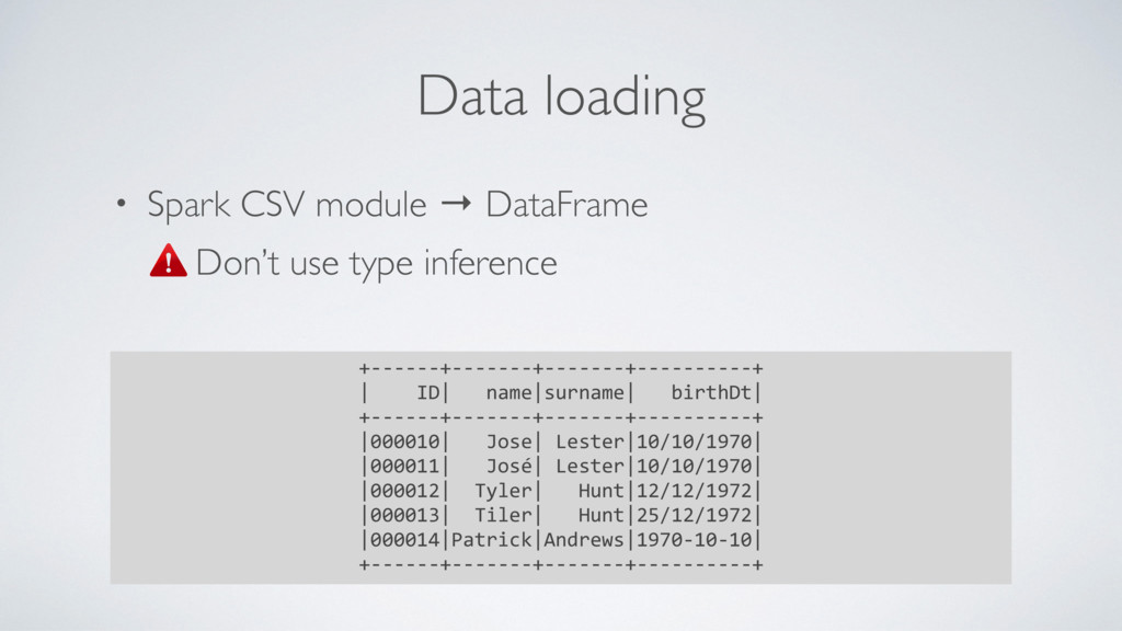 • Spark CSV module → DataFrame Don't use type i...