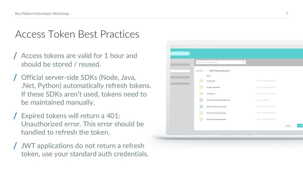 7 Box Platform Developer Workshop Access Token ...