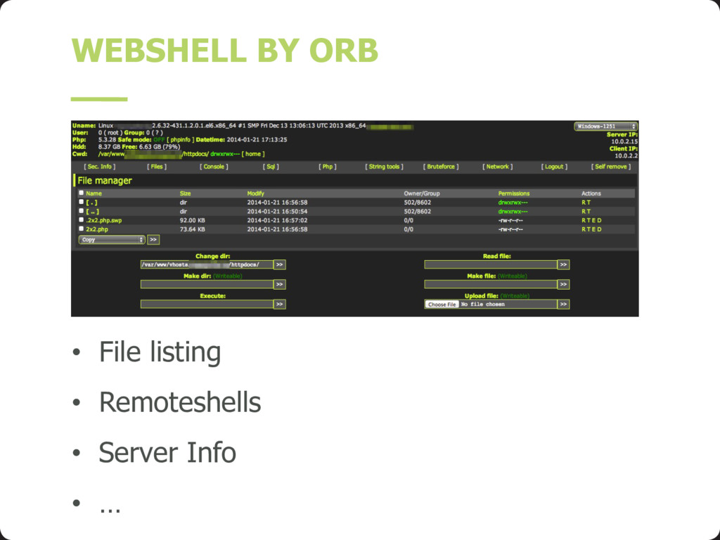 WEBSHELL BY ORB • File listing • Remoteshells •...