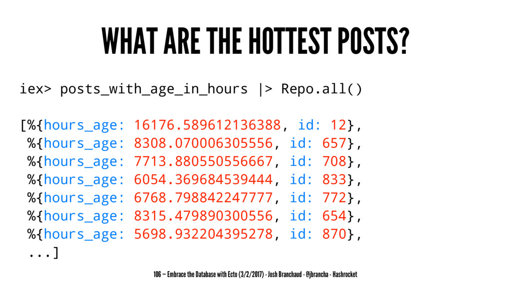 WHAT ARE THE HOTTEST POSTS? iex> posts_with_age...