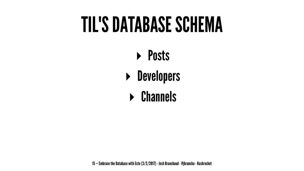 TIL'S DATABASE SCHEMA ▸ Posts ▸ Developers ▸ Ch...
