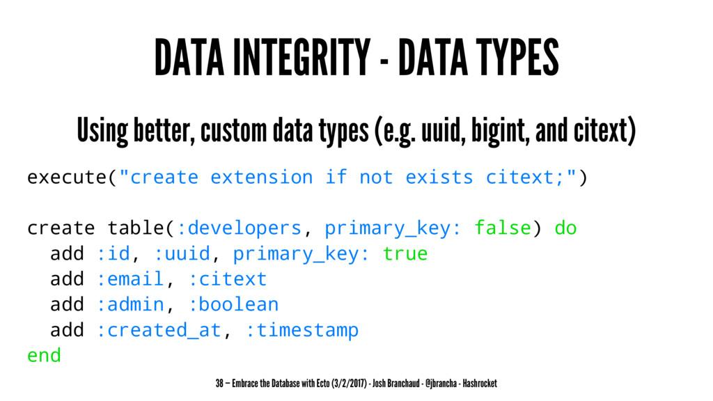 DATA INTEGRITY - DATA TYPES Using better, custo...