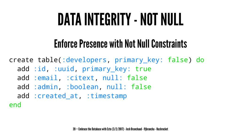 DATA INTEGRITY - NOT NULL Enforce Presence with...