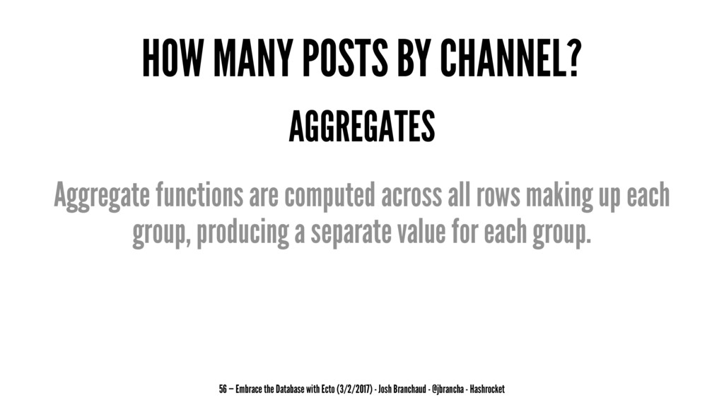 HOW MANY POSTS BY CHANNEL? AGGREGATES Aggregate...