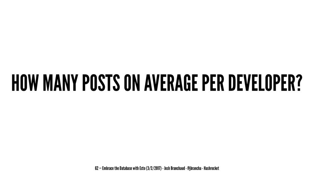 HOW MANY POSTS ON AVERAGE PER DEVELOPER? 62 — E...