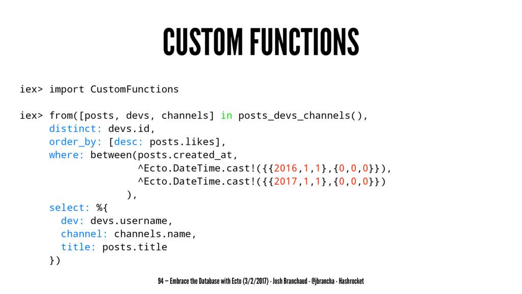 CUSTOM FUNCTIONS iex> import CustomFunctions ie...