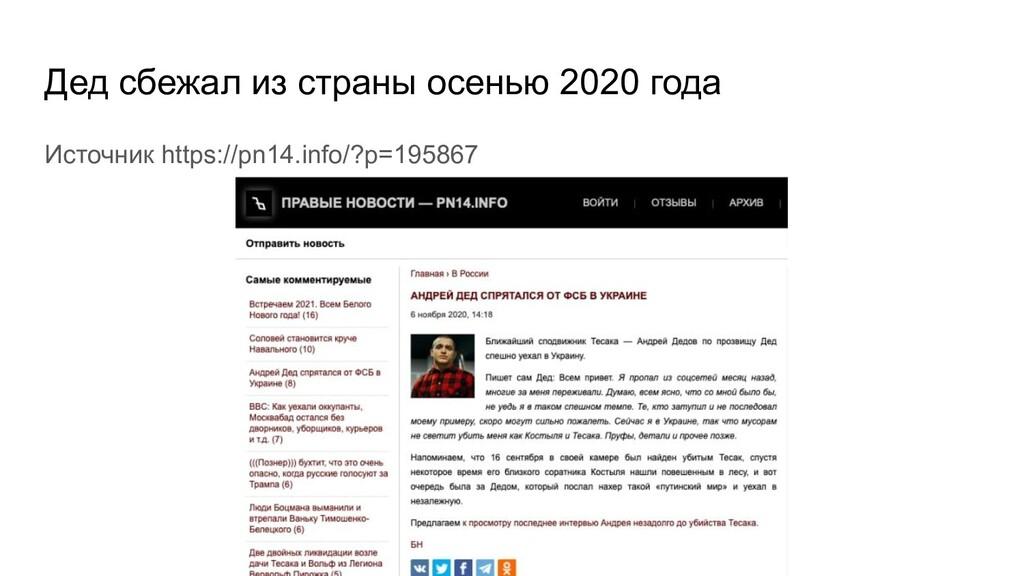 Дед сбежал из страны осенью 2020 года Источник ...