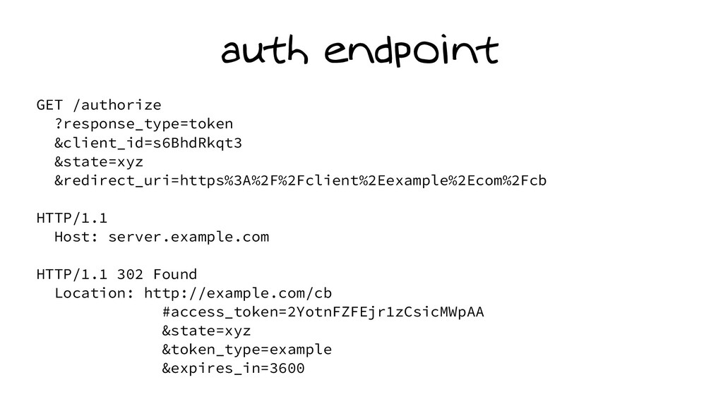 auth endpoint GET /authorize ?response_type=tok...