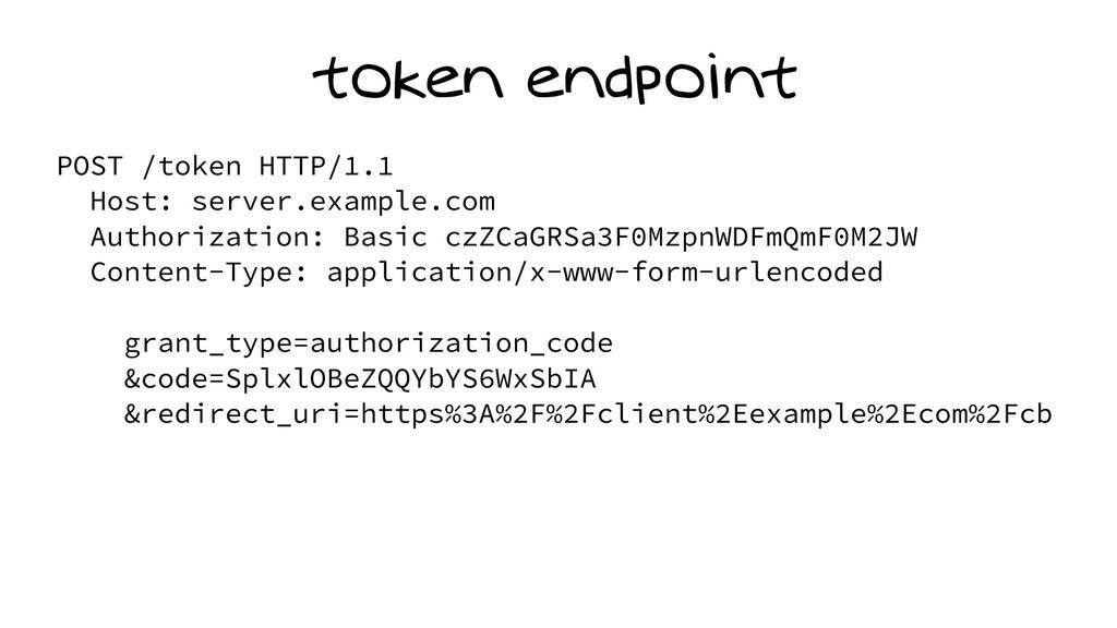 token endpoint POST /token HTTP/1.1 Host: serve...