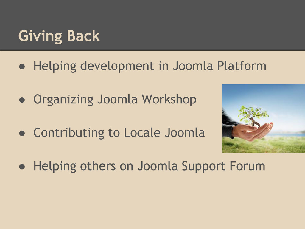 Giving Back ● Helping development in Joomla Pla...