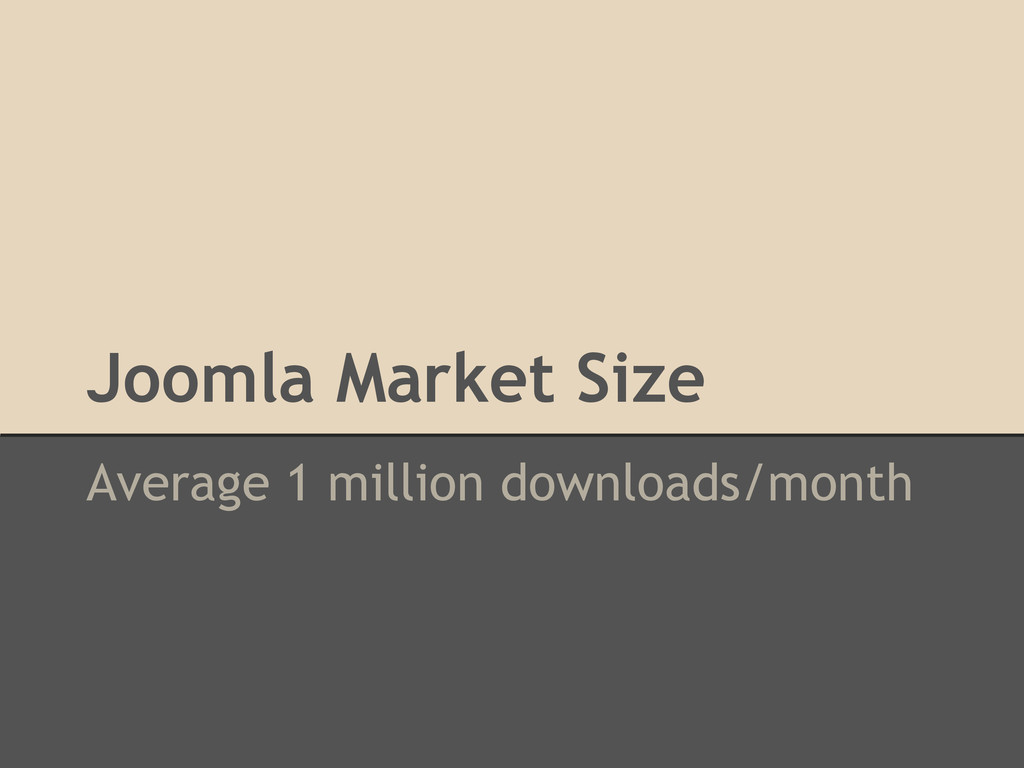 Average 1 million downloads/month Joomla Market...