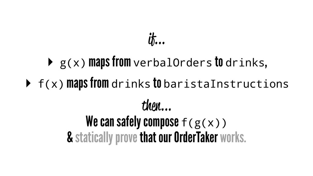 if... ▸ g(x) maps from verbalOrders to drinks, ...