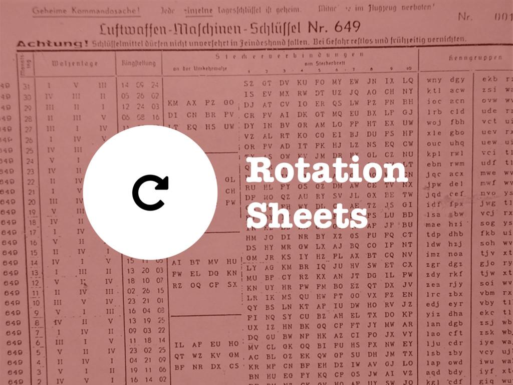 Rotation Sheets (
