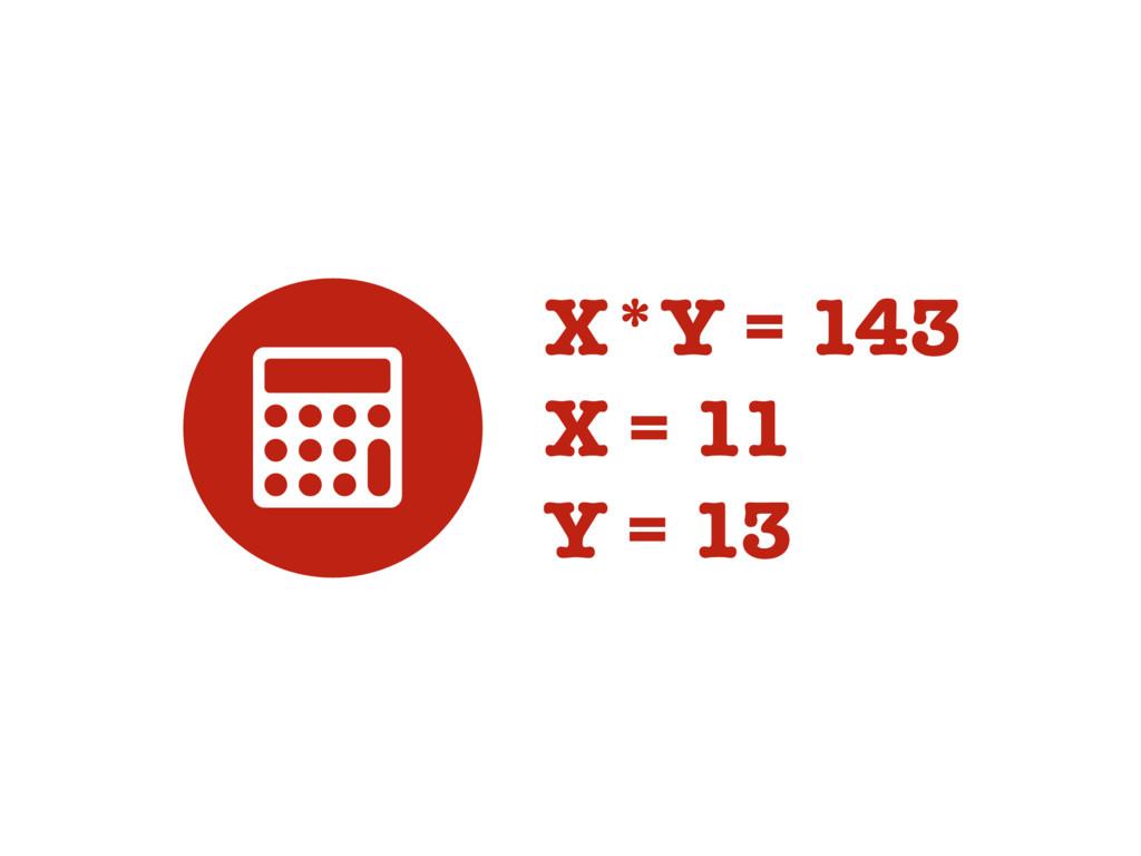 3 X*Y = 143 X = 11 Y = 13