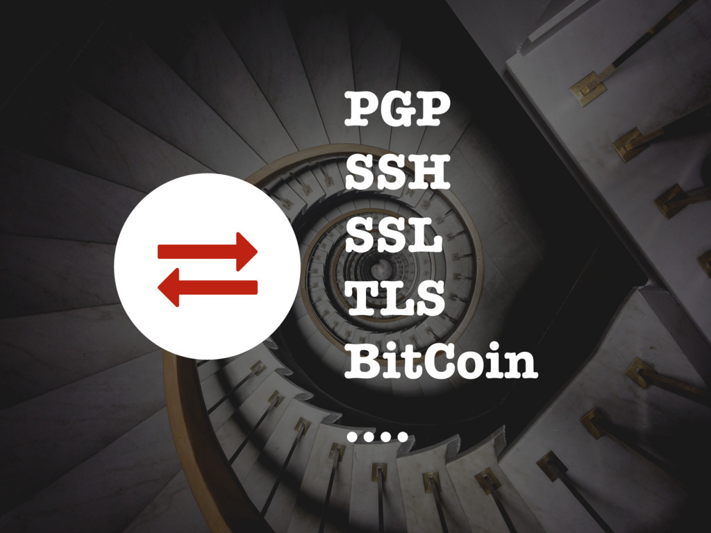PGP SSH SSL TLS BitCoin …. 1