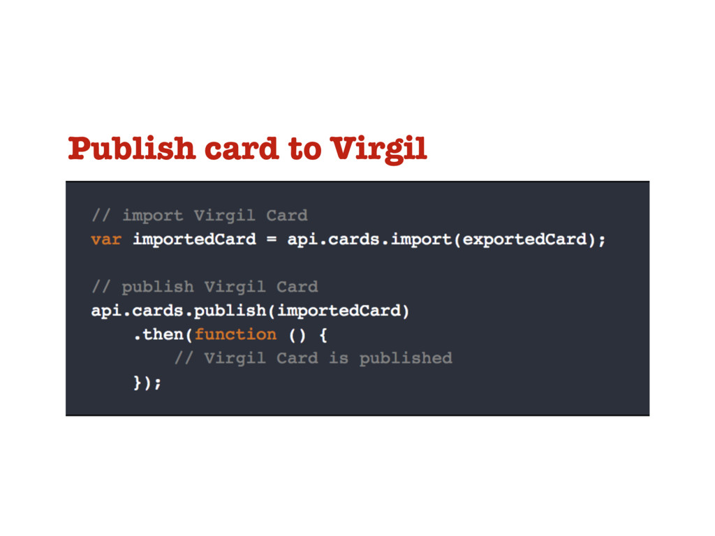 Publish card to Virgil