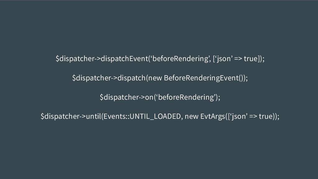 $dispatcher->dispatchEvent('beforeRendering', [...