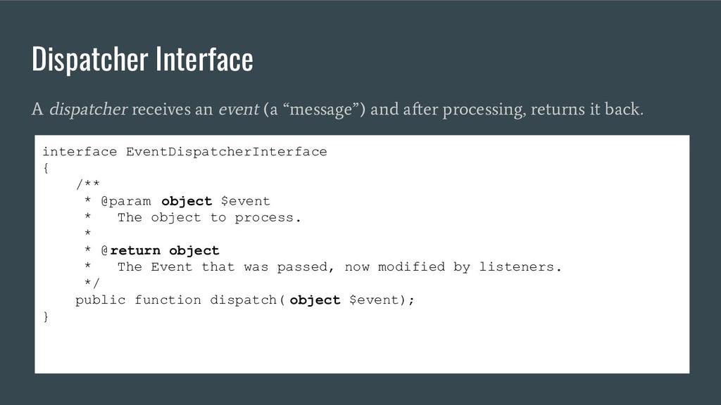 Dispatcher Interface A dispatcher receives an e...