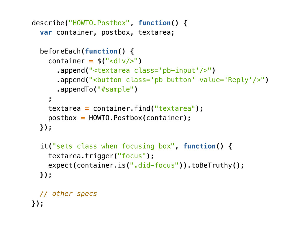 "describe(""HOWTO.Postbox"", function() { var cont..."