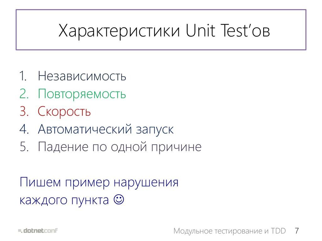 7 Модульное тестирование и TDD Характеристики U...