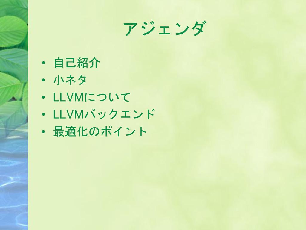 アジェンダ • 自己紹介 • 小ネタ • LLVMについて • LLVMバックエンド • 最適...