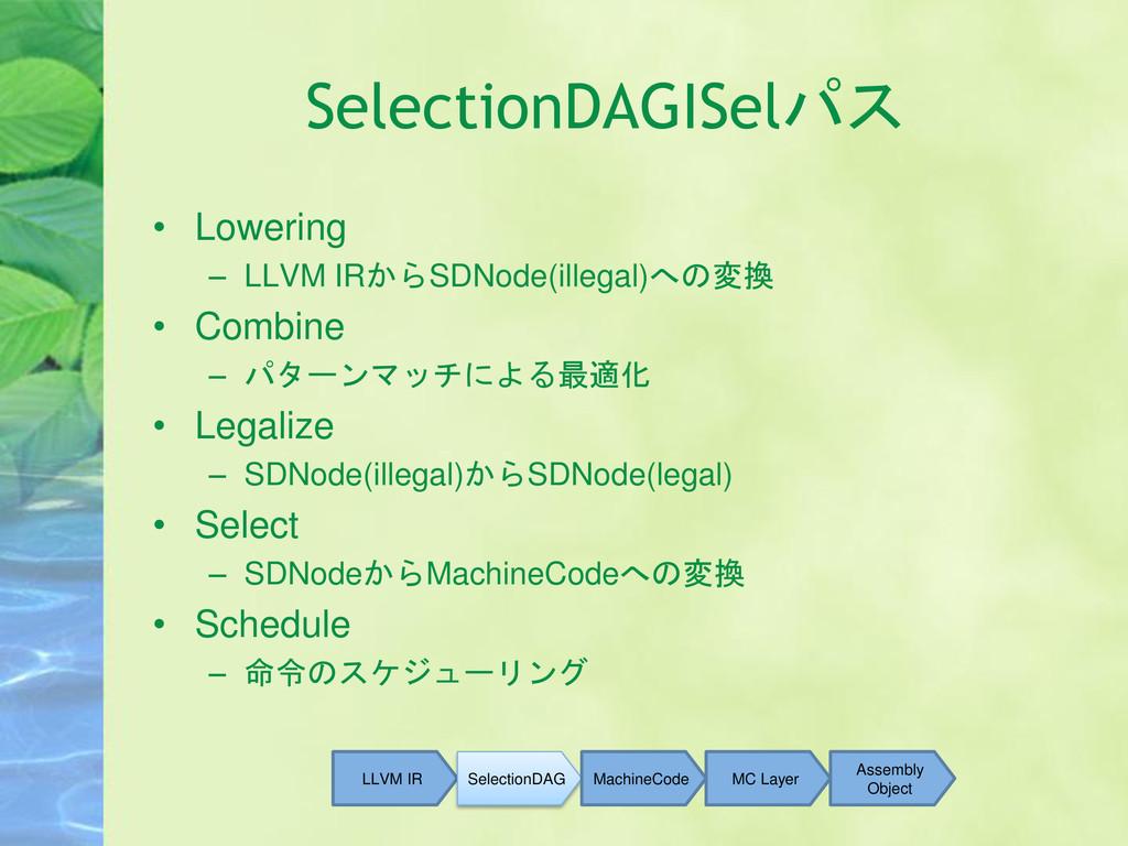 SelectionDAGISelパス • Lowering – LLVM IRからSDNode...