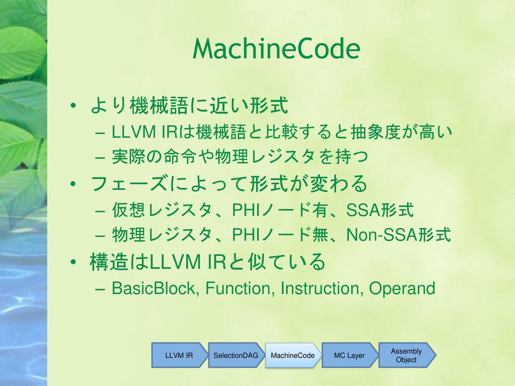 MachineCode • より機械語に近い形式 – LLVM IRは機械語と比較すると抽象度...