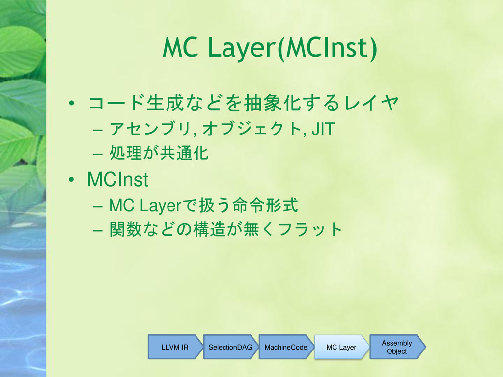 MC Layer(MCInst) • コード生成などを抽象化するレイヤ – アセンブリ, オブ...