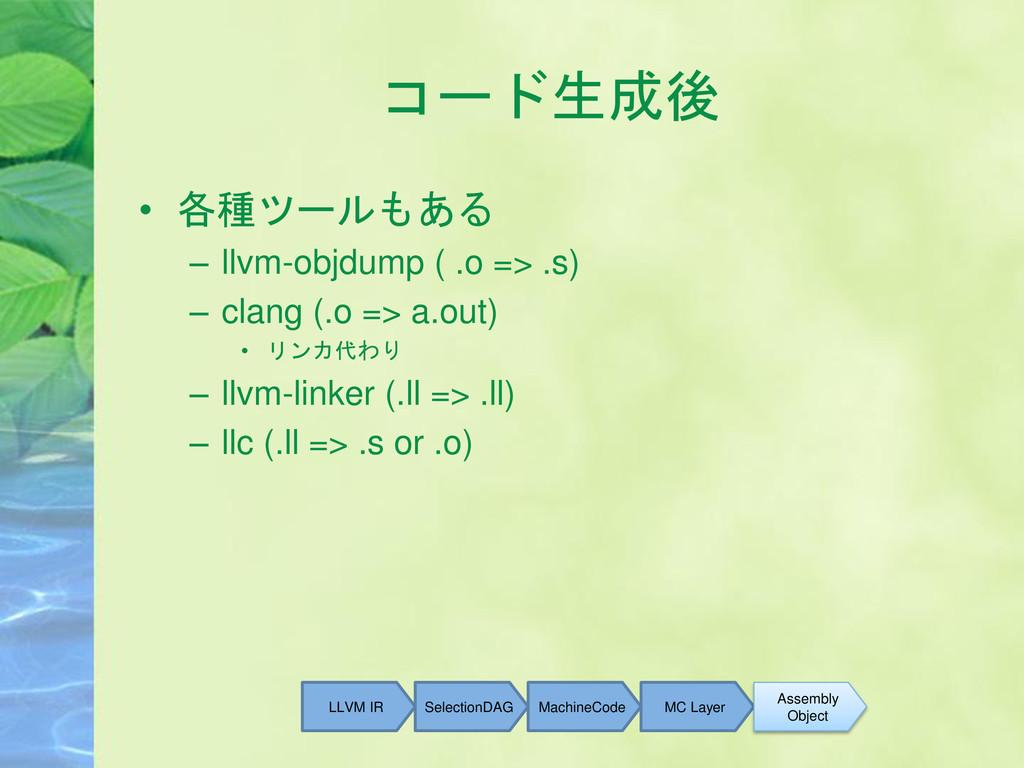 コード生成後 • 各種ツールもある – llvm-objdump ( .o => .s) – ...