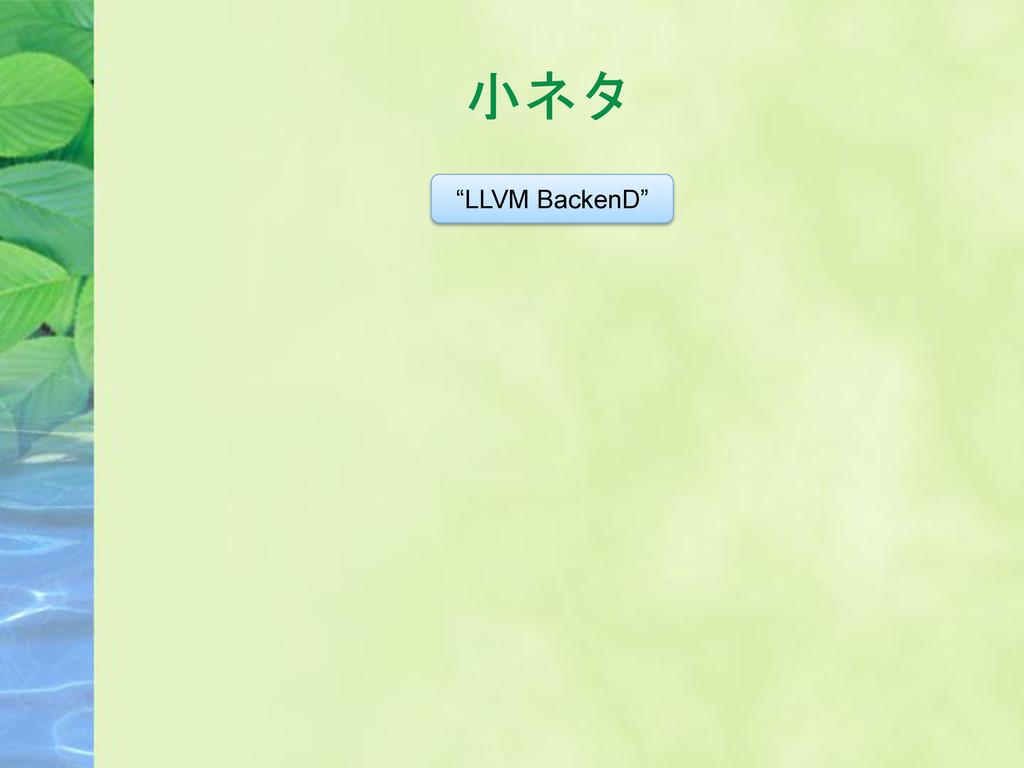 """小ネタ """"LLVM BackenD"""""""
