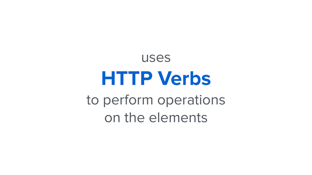 uses HTTP Verbs to perform operations on the el...