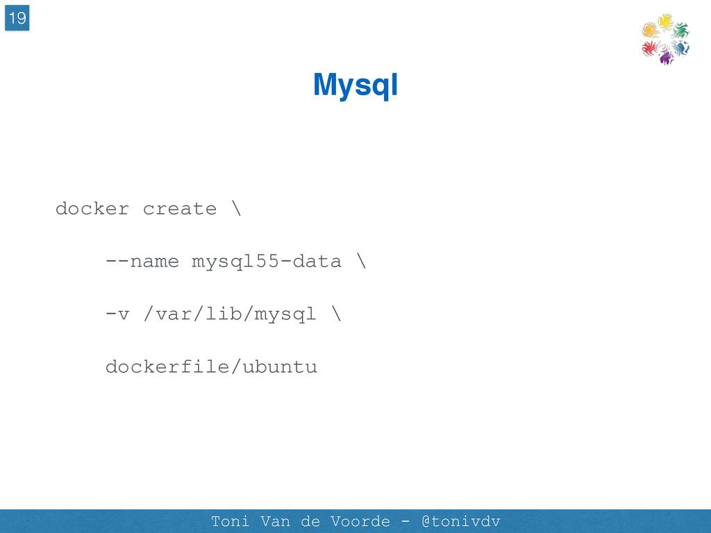 Mysql 19 Toni Van de Voorde - @tonivdv docker c...