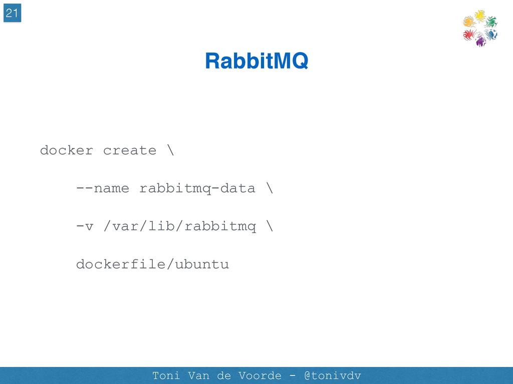 RabbitMQ 21 Toni Van de Voorde - @tonivdv docke...