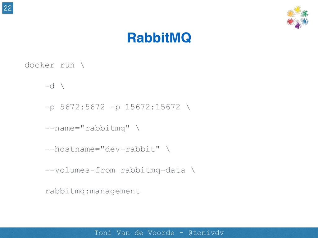 RabbitMQ 22 Toni Van de Voorde - @tonivdv docke...