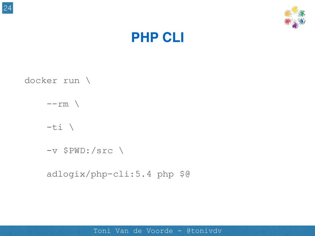 PHP CLI 24 Toni Van de Voorde - @tonivdv docker...