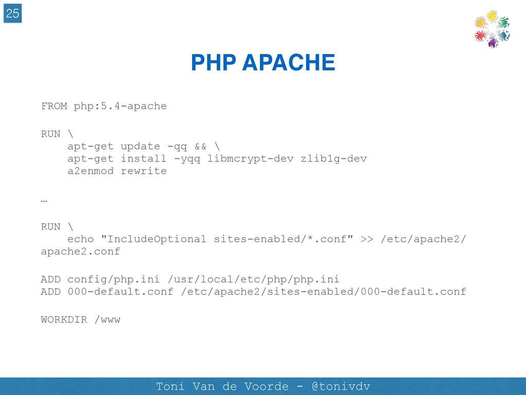PHP APACHE 25 Toni Van de Voorde - @tonivdv FRO...