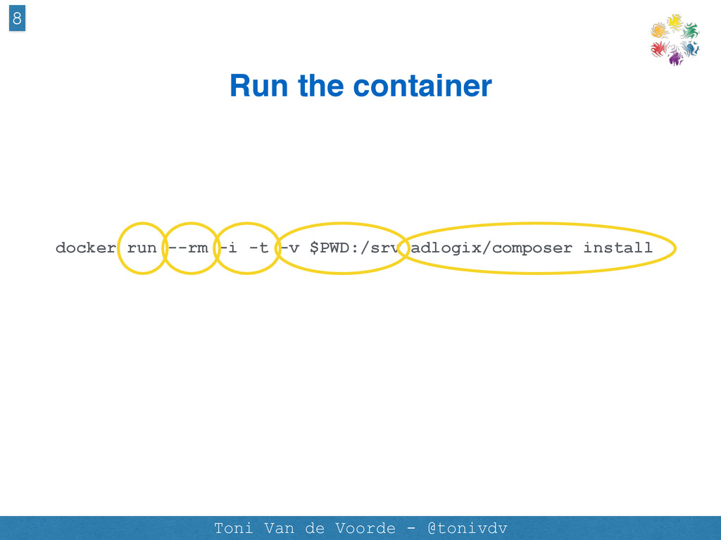 Run the container docker run --rm -i -t -v $PWD...