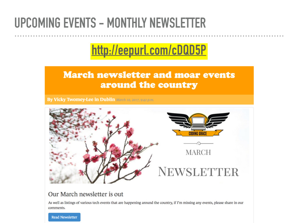 UPCOMING EVENTS - MONTHLY NEWSLETTER http://eep...