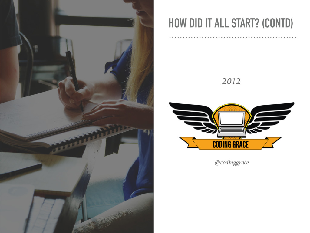 HOW DID IT ALL START? (CONTD) 2012 @codinggrace