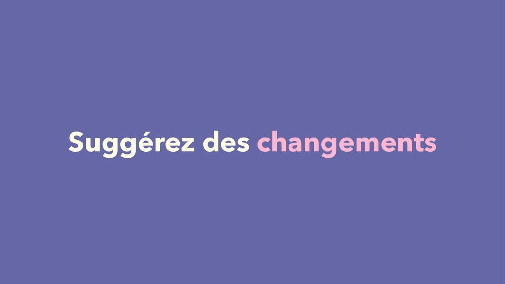 Suggérez des changements