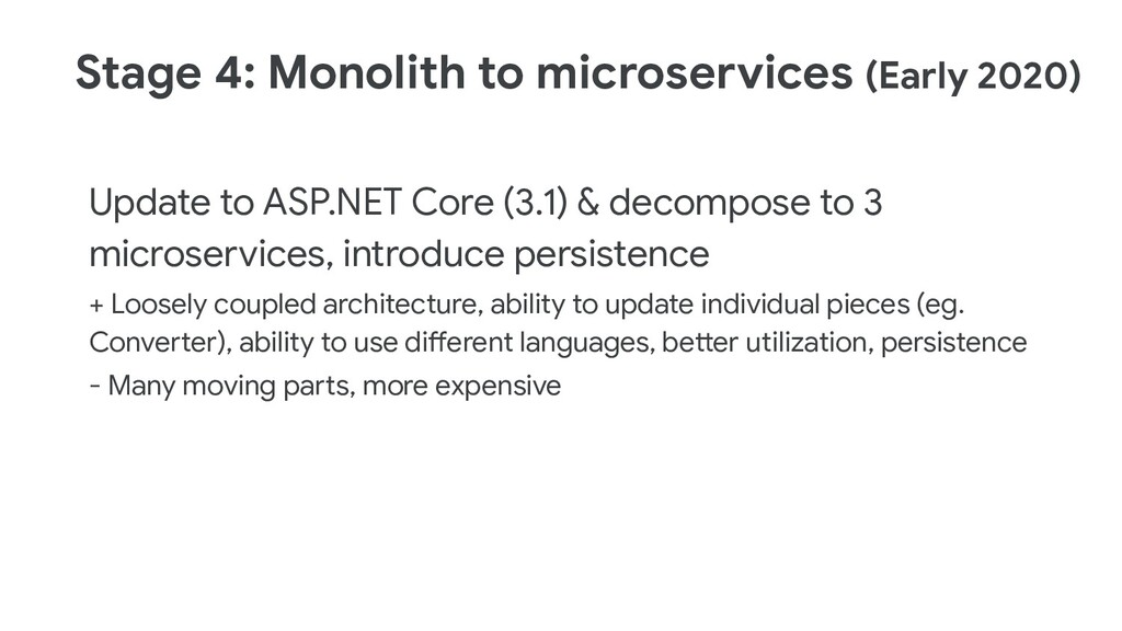 Stage 4: Monolith to microservices (Early 2020)...