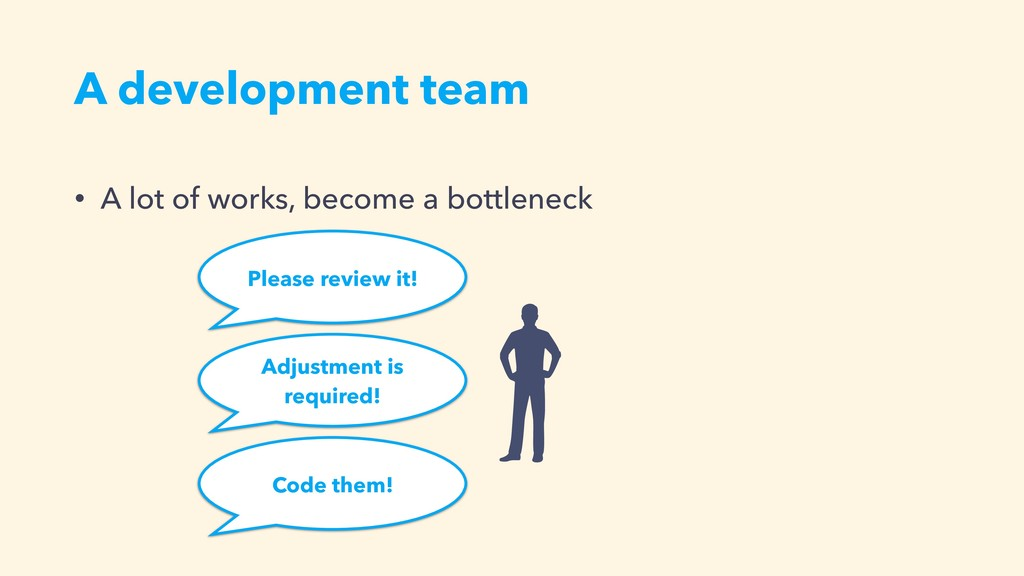 Please review it! A development team • A lot of...